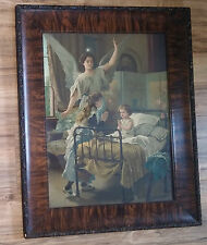 Antique Victorian Guardian Angel Praying Children Print, Tiger Stripe Wood Frame