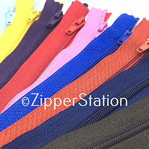 10-x-Nylon-Autolock-3-Zips-for-sewing-amp-crafts-27-COLOURS-amp-13-ZIP-SIZES