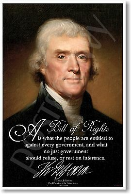 Thomas Jefferson - A Bill of Rights - NEW American History Classroom POSTER