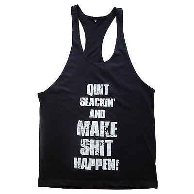 Mens Racerback T-Back Y-Back Stringer Gym Bodybuilding Fitness Singlet Tank Top