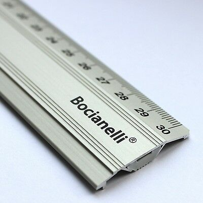 30cm 300mm Professional Metric Metal Aluminium Anti-slip Drawing Ruler Rule