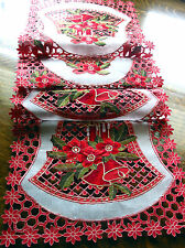 "Christmas Embroidered Table Runner Cut Work Bell Poinsettia 70""x16"" Red White"