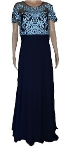 JS-Collections-Embroidered-Illusion-Bodice-Chiffon-Gown-Size-12-Navy-New-298