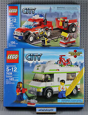 LEGO CITY - 2x Combo Lot 7639 7942 Camper Off-Road Fire Rescue NISB Sealed Town
