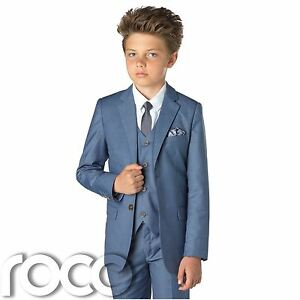 Image Is Loading Chambray Blue Suit Boys Slim Fit Wedding