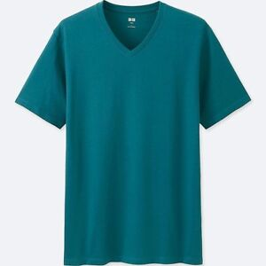 eefb7500750f Details about UNIQLO SUPIMA® Cotton Men s Soft Short-Sleeve V-Neck Premium T -Shirt S BLUE NWT!