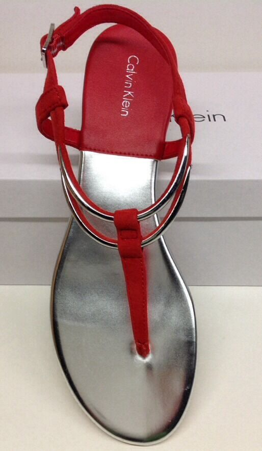 CALVIN KLEIN NEW WOMEN'S SERENITY SANDAL CORAL KID SUEDE 9.5 NEW KLEIN WITH BOX NICE 15b052