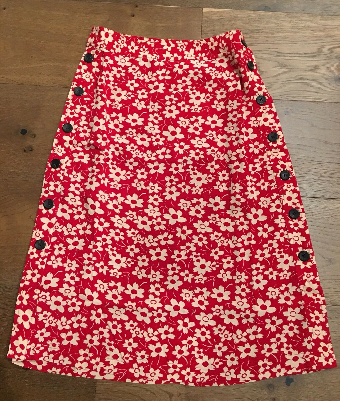 Madewell Side-Button Skirt in Full Bloom 6, Retro Floral Cranberry  98. NWT