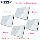 Livolo US Remote 1 2 Way Sensor Wall Mount Touch Switch Crystal Glass Panel
