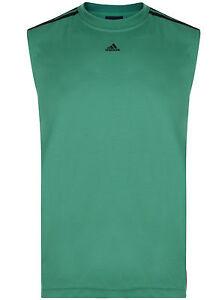 New-Men-039-s-Adidas-Polyester-Sleeveless-T-Shirt-Vest-Top-Tank-Singlet-Green