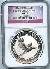 1996 Australia Kookaburra NGC MS70 Graded Silver Coin C5