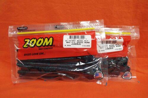 8 cnt ZOOM Mag UV Speed Worm 2 PCKS #113-005 Junebug