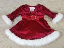 d2136fc9cfde8 BONNIE JEAN Baby Girls Red Velvet Faux Fur Christmas Holiday Santa Dress  3-6 Mo
