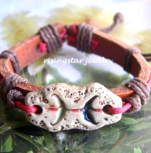 Cool Astrology Horoscope Sign Clay Theme Leather Surfer Hemp Fashion Bracelet