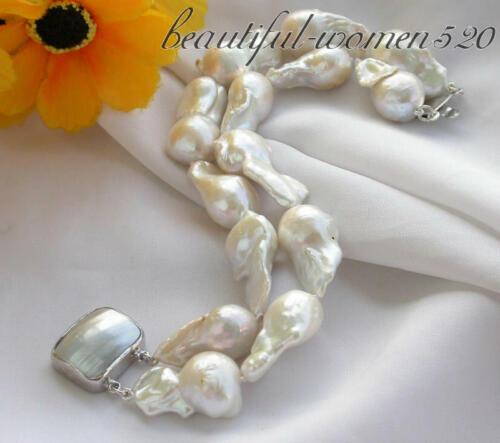 Z3407 SUPERBE 2row 28 mm Blanc Baroque Keshi reborn Pearl Bracelet