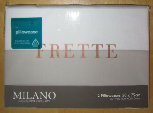 FRETTE Cotton Pillowcase PAIR 50x75cm MILANO New