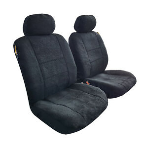 New-Arrival-2pcs-Sheepskin-Black-Velour-Front-Car-Seat-Cover-Universal-Size