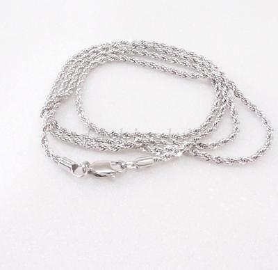"""White Gold Plate Chain Rope shape 60cm 23.5 """" Twist Necklace Lobster Clap Long"""