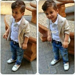 3PCS Baby Boys Gentleman Coat + Shirt +Long Denim Trousers Kids Clothes Outfits