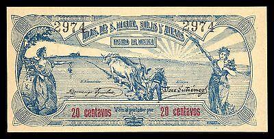 Earnest Haciendas De San Miguel Solis Y Anexas 20 Centavos 1915 M2857 Pi-mex-23 Unc
