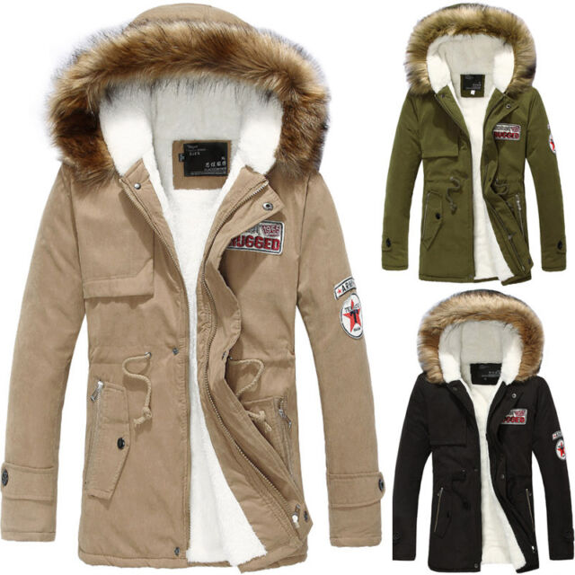 Men's long hooded cotton trench coat fur Winter outwear jackets padded jacket