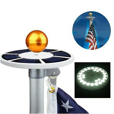 SOLAR FLAGPOLE FLAG POLE NIGHT LIGHT TOP MOUNT WATERPROOF 26 LED GARDEN OUTDOOR