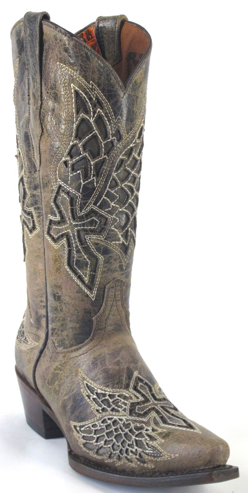 Women's Wings Cross  Distressed Leather Cowgirl Western Boots Snip Brown