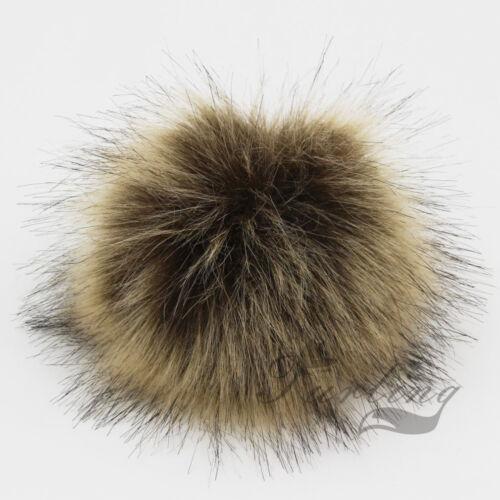 1pc Faux Fox Fur Pom Pom with Press Button Fake Fur Hat Bubble Removable new