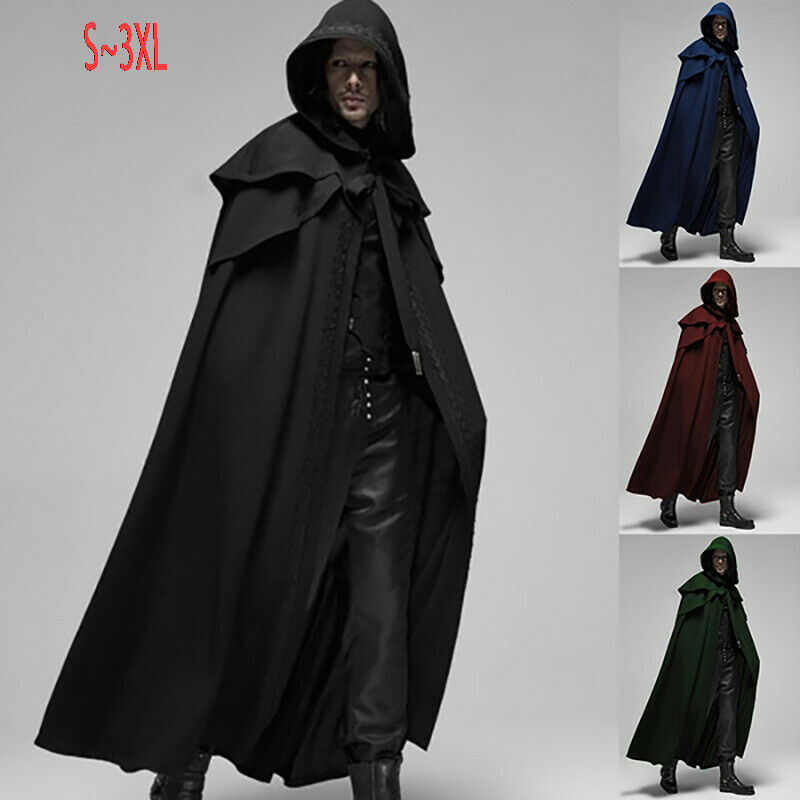 Medieval Gothic Mens Hooded Cloak Long Robe Capes Halloween Cosplay Costume New