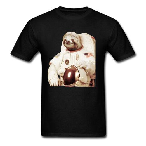 Astronaut Sloth Black Short Sleeve T-Shirt USA Aviation Hispter Men Women Tops