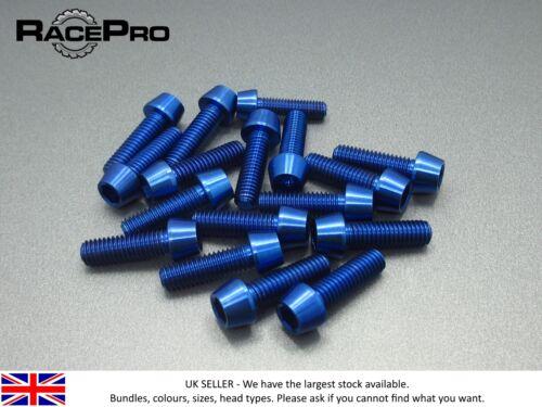 racepro - 4 x Titane Conique prises BOULON Allen - M7 x 20mm x 1mm - Bleu