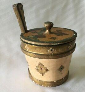 VTG-Italy-Florentine-Ice-Bucket-Butter-Biscuit-Barrel-Beige-Guilt-Wood-Tole-Box