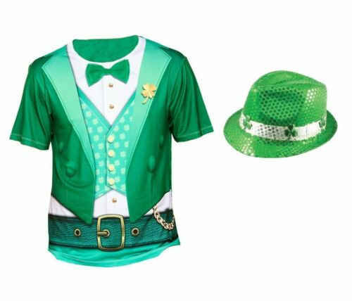 Mens Irish St Patricks Day Deluxe LEPRECHAUN FANCY DRESS COSTUME Adult Outfit UK