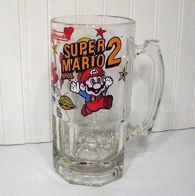 Super Mario Bros 2 Beer Mug Stein Glass 1989 Video Game Collectible Nintendo