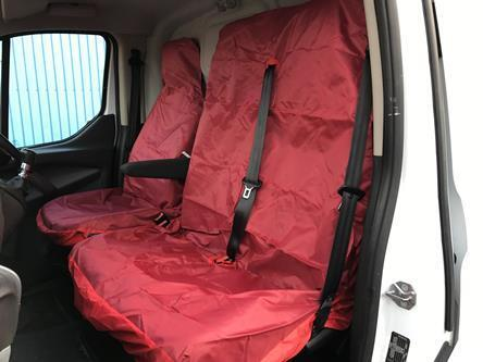 RENAULT MASTER 2010 ON VAN SEAT COVERS RED HEAVY DUTY WATERPROOF 2-1