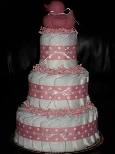Red Pink or Light Blue Baby Shower Diapercake Royal Blue
