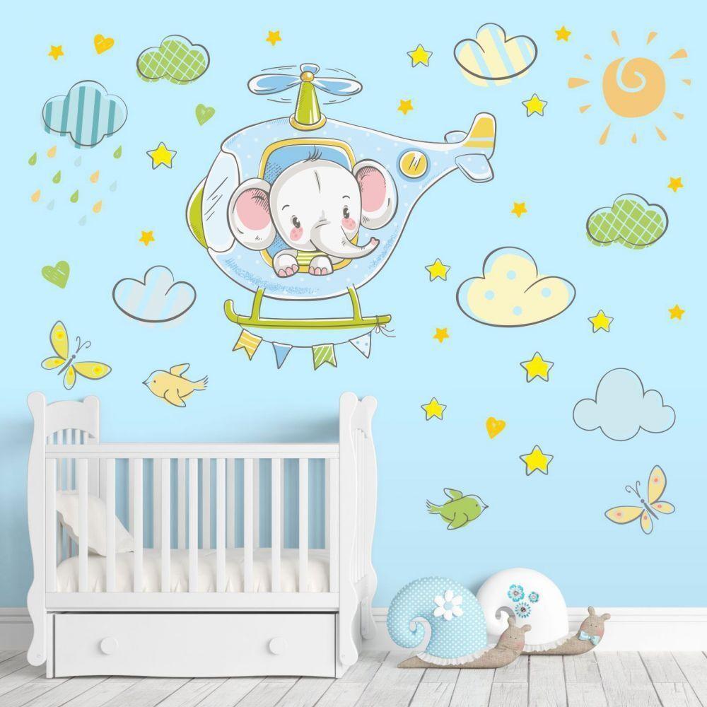 Nikima 029 tapisserie Hélicoptère éléphant sur Hélicoptère tapisserie Bleu Clair Chambre   Baby Nuages 9855a7