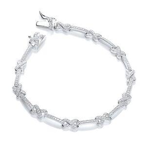 Ladies-7-034-Sterling-silver-Micro-pave-Cubic-Zirconia-cross-bracelet-J-Jaz