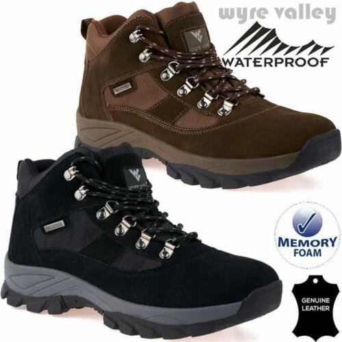 Mens Leather Walking Hiking Waterproof MEMORY FOAM Ankle Work Boots Shoe Trainer