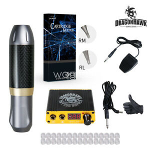 Dragonhawk-New-Tattoo-Machine-Set-Kit-Motor-Rotary-Pen-Power-Supply-Needles