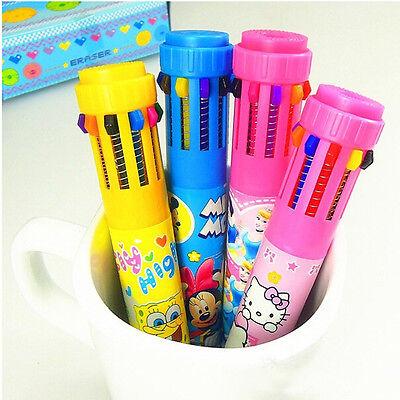 Novelty Children Writing Pen 10 Colour in 1 Retractable Ballpoint Pen Kawaii 1pc