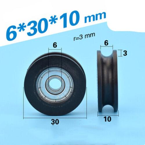 5pcs U Nylon Plastic Embedded 604//608//624//625 Groove Ball Bearings Guide Pulley