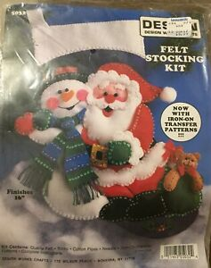 Vintage Design Works Sequin Felt Snowman Santa Christmas ...
