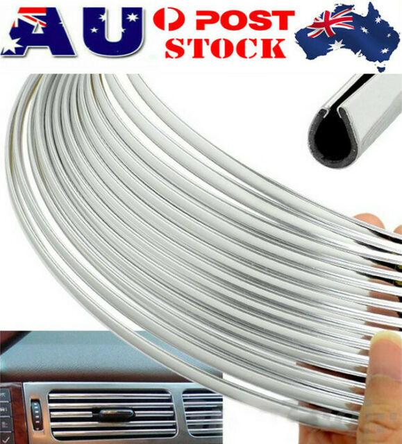 12m Car Moulding U Style Trim Strips Door Tailgate Edge Protector Chrome Silver
