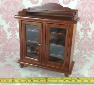 Image Is Loading Dollhouse Miniature Home Bar Furniture Wood Mahogany Shelf