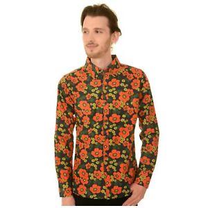 60 S Style Fleur Coquelicot Imprimer Shirt By Run And Fly Rétro Mod 70 S Disco M Bnwt/neuf-afficher Le Titre D'origine DernièRe Mode