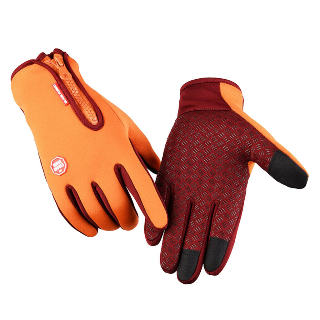 1 Pair Men's Winter Thermal Gloves Cycling Glove Touch Screen Mitten Yellow