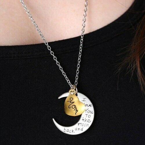 I Love You To The Moon Back Pendant Necklace Greetings Engraved Gift For Family