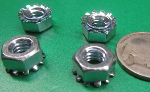 Zinc GR -200Pcs 2 Tooth Washer Hex Nut  KEPS 1//4-20 x 7//16 Width x 3//16 Height