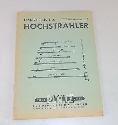 Beautiful Parts Catalog Space Hochstrahler Diverse Models Stand 02/1959 Special Buy Industrial